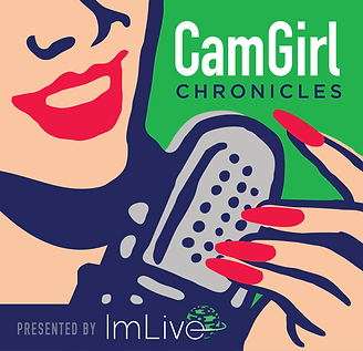 CamGirlChronicles Logo which is a representation of a woman holding a microphone seductively.