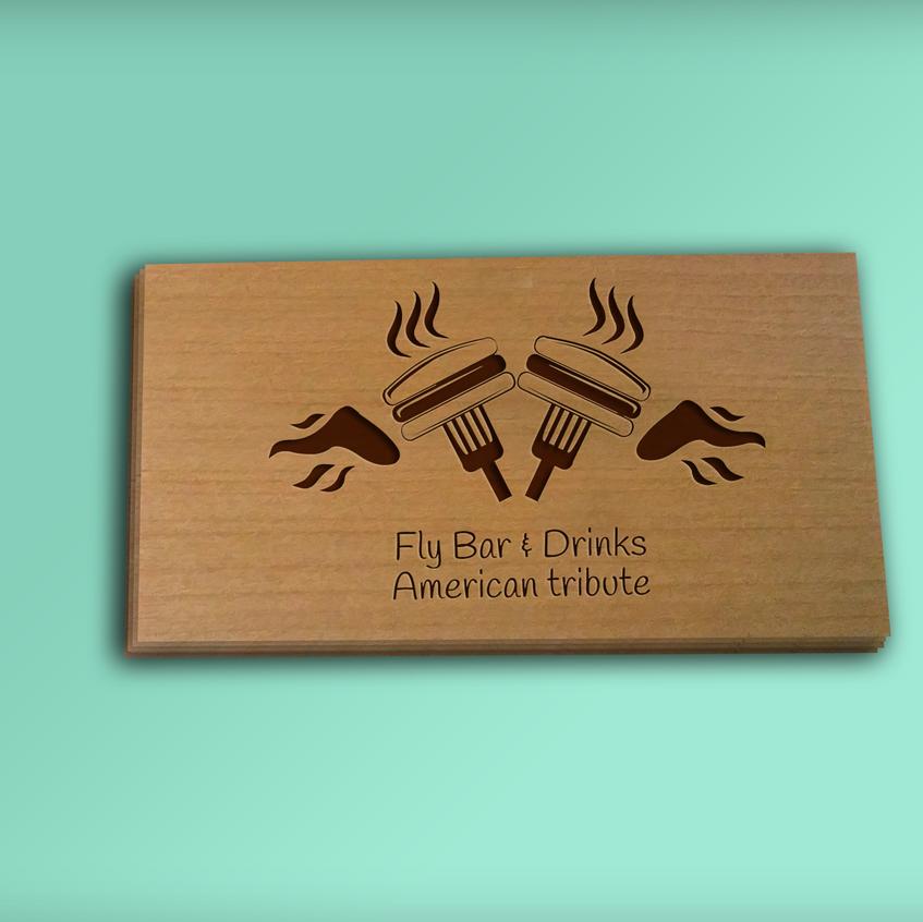 tarjetas de visita de madera finas individual