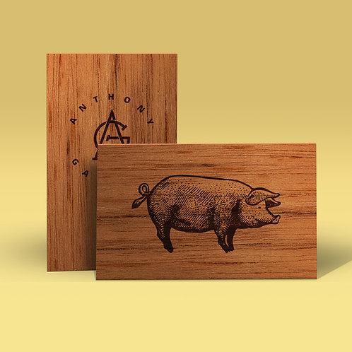 Tarjetas de visita de madera en letterpress