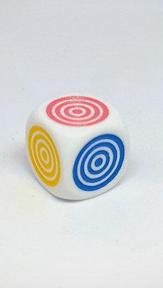 Dados D6 con círculos de colores 16 mm