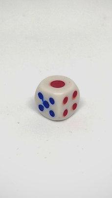 Dados con punto rojo y puntos azules y rojos 12 mm