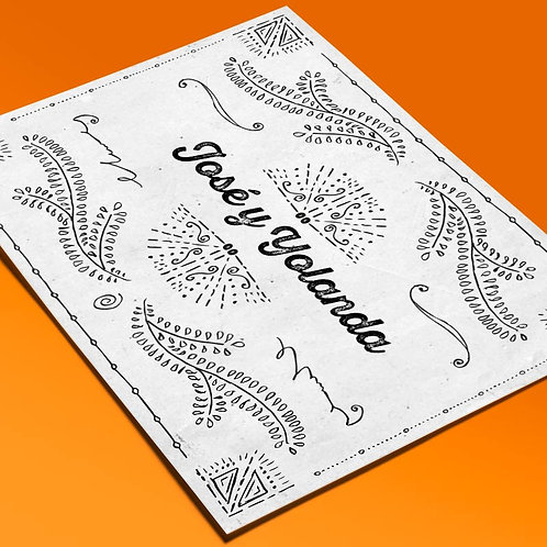 Invitaciones de boda tamaño A5 letterpress