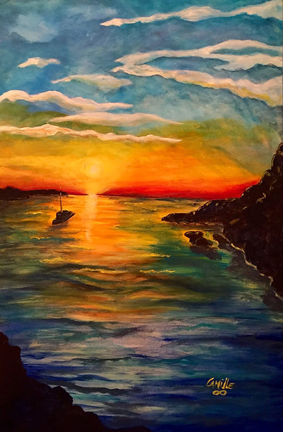 "Sunset Sail, 26""x48"""