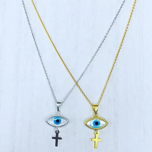 Mop evil eye with hanging cross