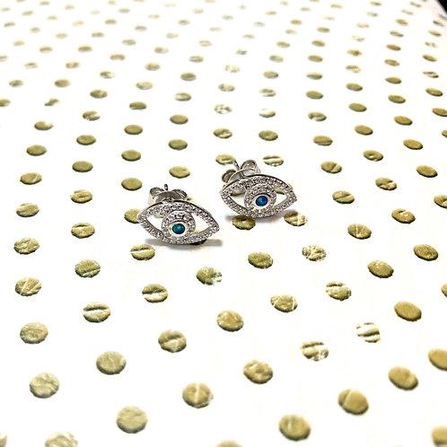 Opal evil eye earrings