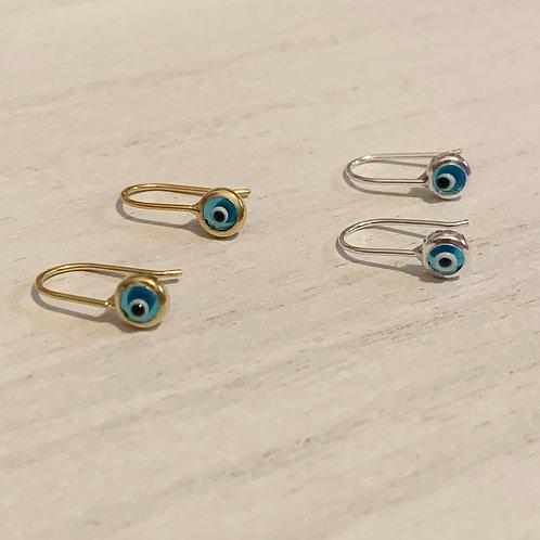 Glass Evil Eye Hook Earrings