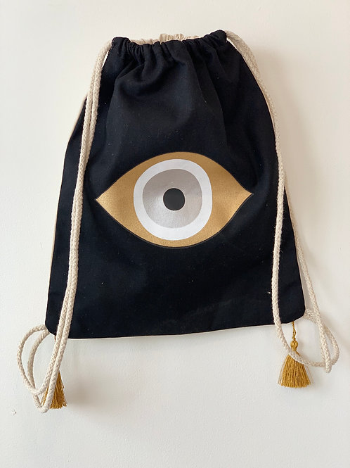 Evil eye canvas backpack