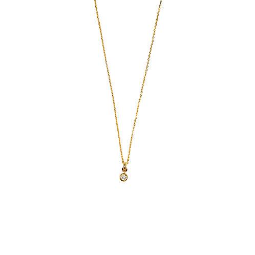 SINGLE WHITE DIAMOND GOLD CHOKER NECKLACE
