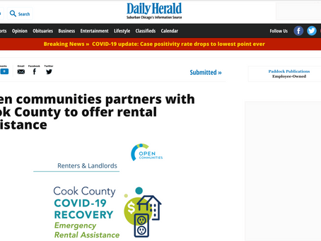 Open Communities Partners with Cook County to Offer Rental Assistance