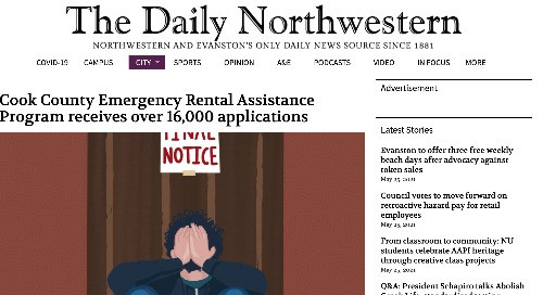 Cover of Daily Northwestern online newspaper. Article is about Open Communities and Cook County Rental Assistance Program. Image is a drawing of a white man with his head in his hands.
