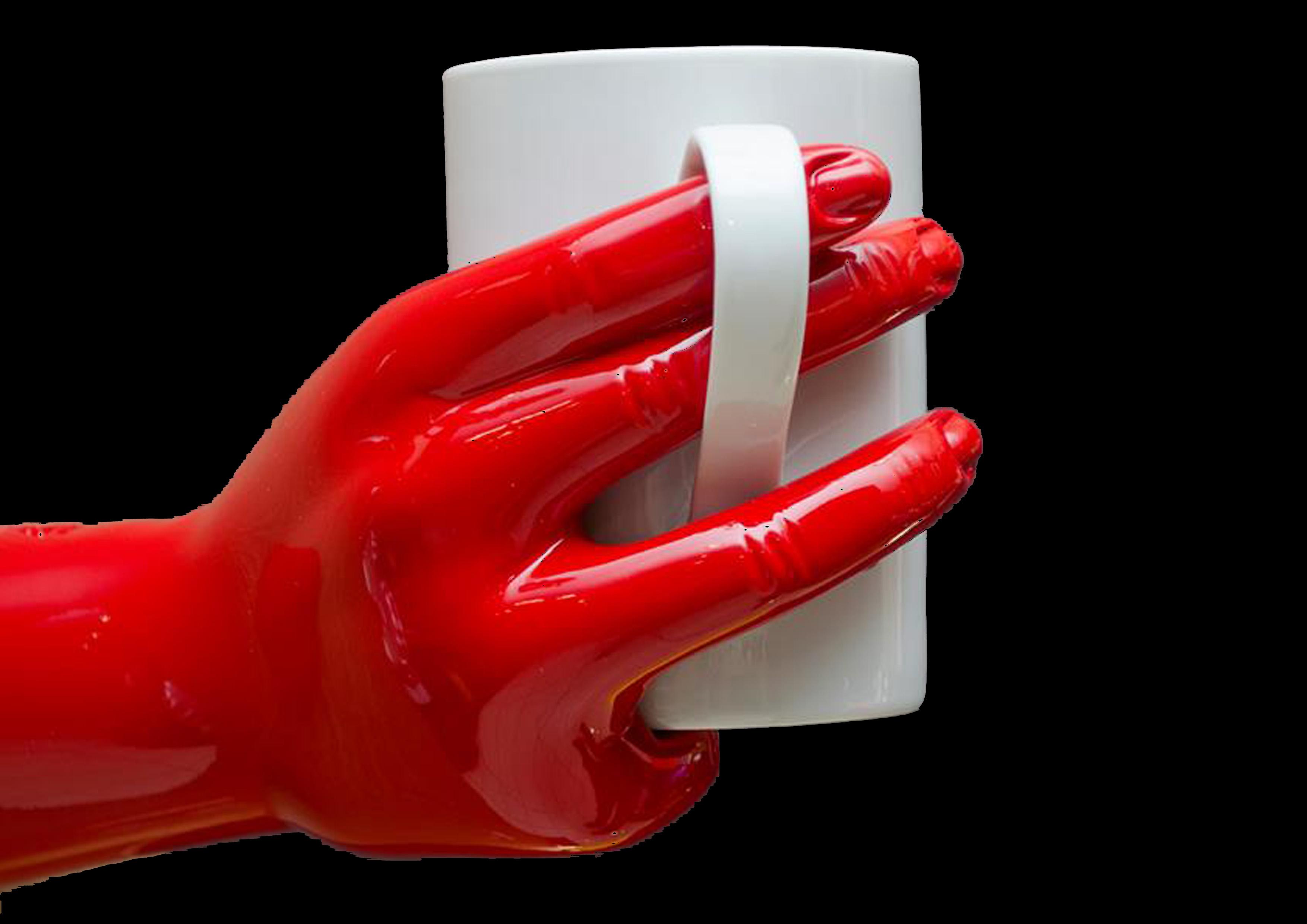 κόκκινο χέρι κούπα