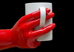 ποτηροθηκη κόκκινο χέρι