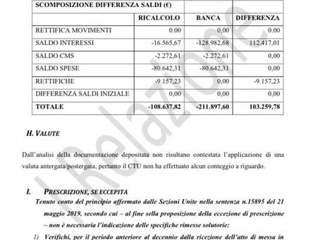 Il CTU del tribunale di Roma riconosce l'usura applicata nei vari trimestri del conto corrente