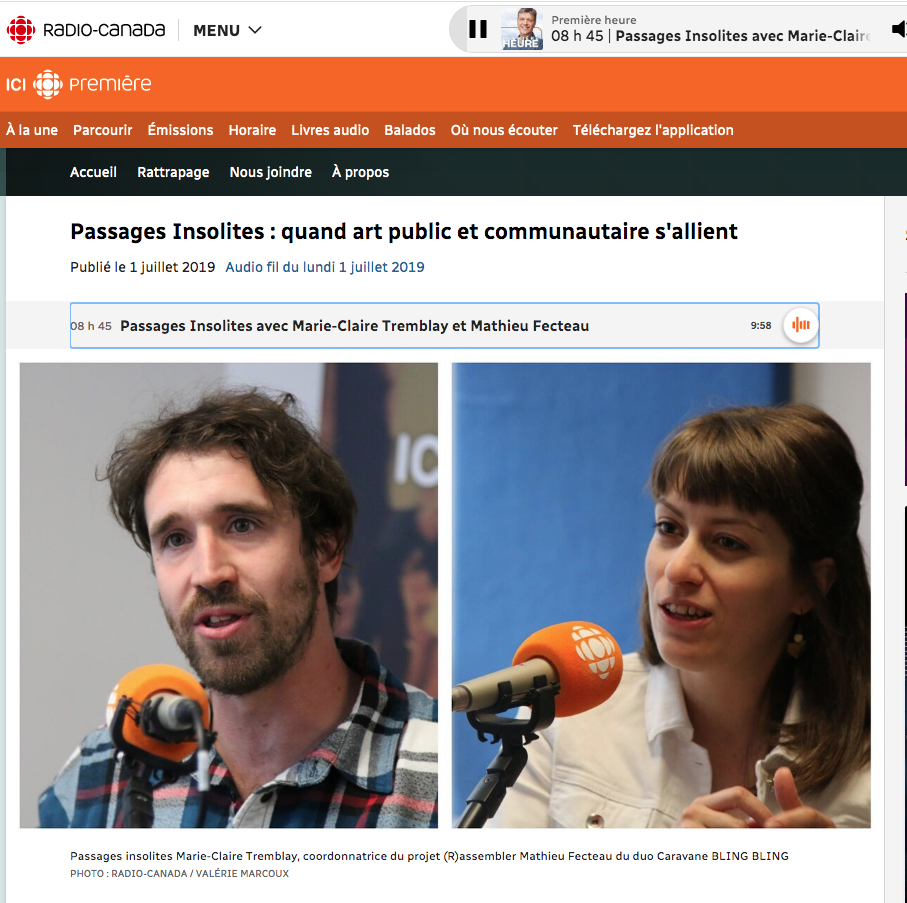 Entrevue Radio-Canada-Passages Insolites 2019