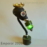 """$400. 26"""" Vintage Russian Gas Mask Lamp. Crown is not attached."""