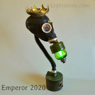 "$400. 26"" Vintage Russian Gas Mask Lamp. Crown is not attached."