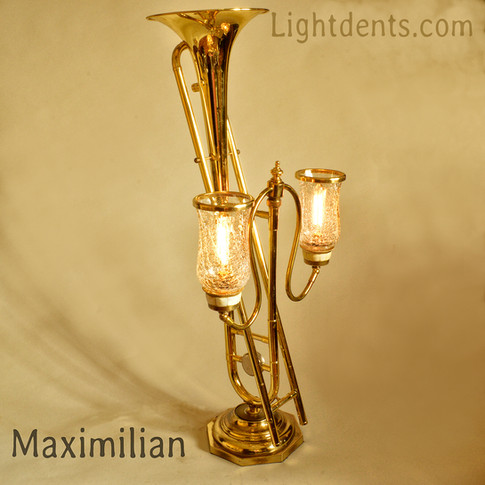 """Trombone with vintage crackled glass and mother of pearl shades. Dimmer switch on the back. 30.5"""""""