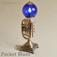 """$400. 18"""". Nickel Pocket Trumpet Lamp"""