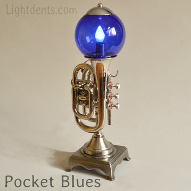"$400. 18"". Nickel Pocket Trumpet Lamp"