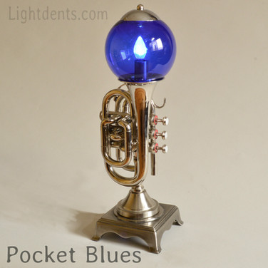 "18"". Nickel Pocket Trumpet Lamp"
