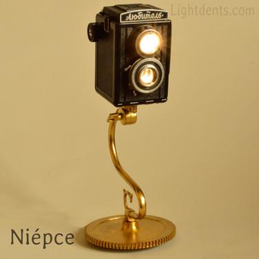 Vintage Camera body night light. Brass gear base.