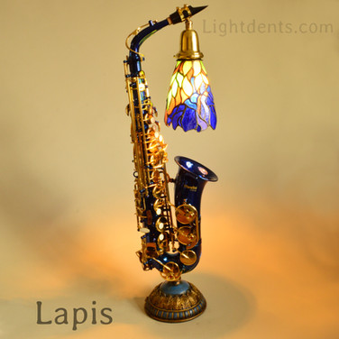 Anodized Blue Alto Sax with vintage tiffany shade. 29""