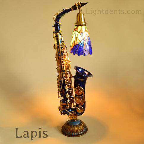 "Anodized Blue Alto Sax with vintage tiffany shade. 29"""