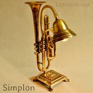 "$350. 19"". Cornet Lamp. Solid brass base"