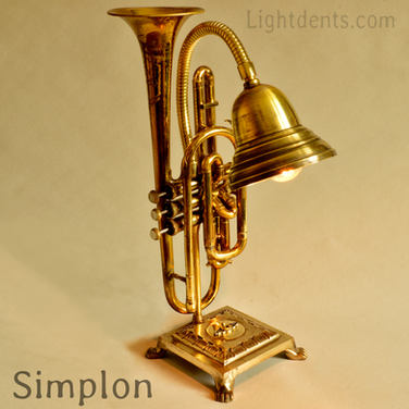 "$350. 19"". Cornet Lamp. Solid brass base"