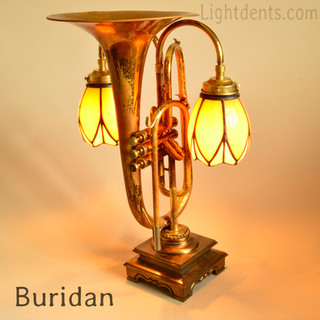 """Vintage Marching Horn and stained leaded glass shades. On/Off in the second piston. 22"""""""