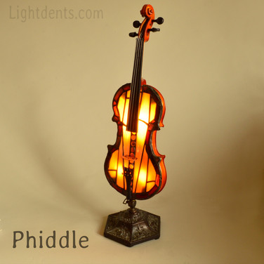 """Violin with stained glass top. Dimmer switch on the back .28"""""""