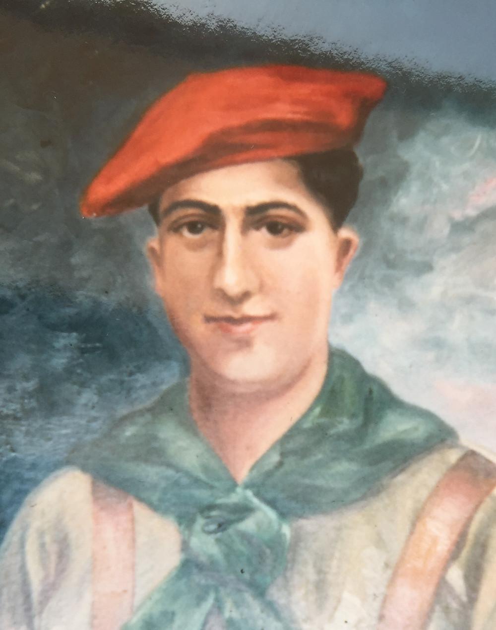 Antonio Molle en un retrato al óleo conservado por su familia (detalle)