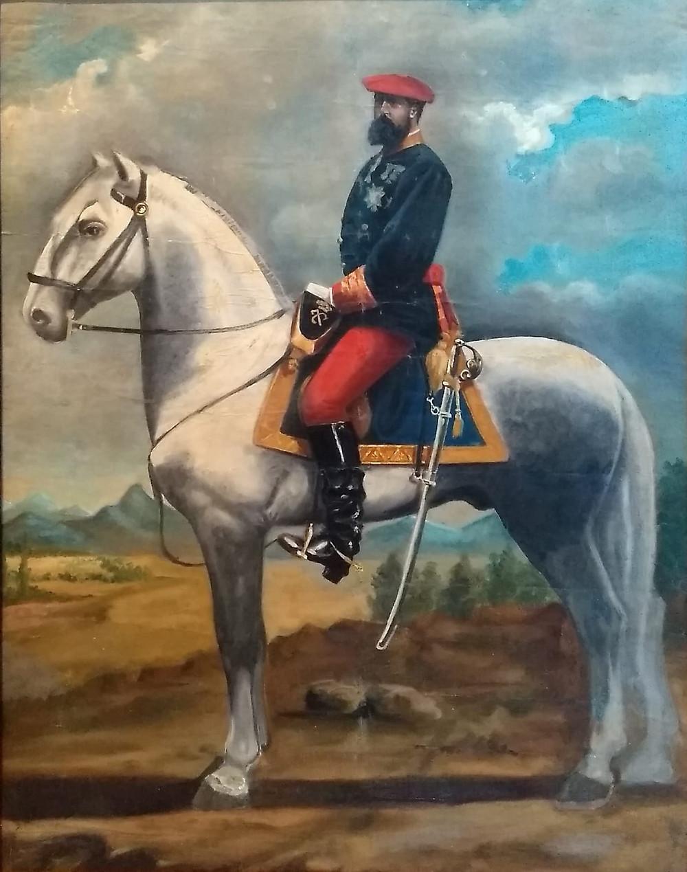 Retrato ecuestre de Don Carlos de Borbón. Anónimo