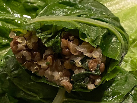 Quinoa Lentil Stuffed Chard with Peanut Sauce