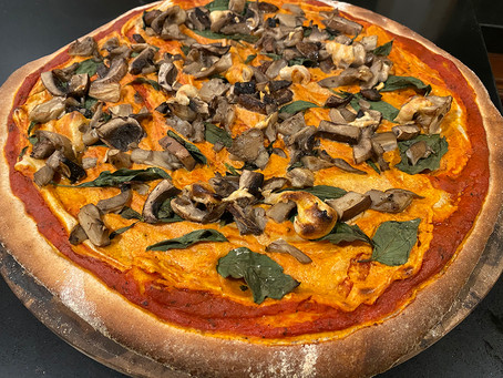 Vegan Portobello and Oyster Mushroom Pizza with Almond-Cashew Cheese