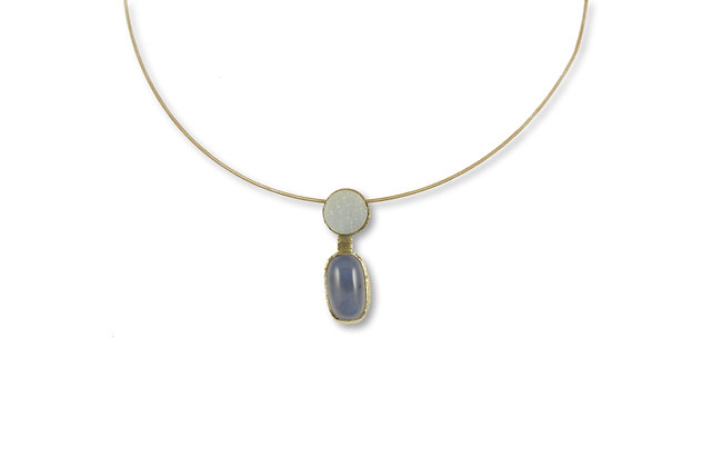 Chalcedony and Drusy Agate Pendant