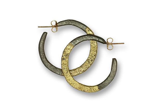 20 Karat Gold on Steel Hoop Earrings Large