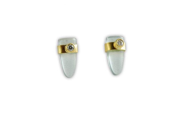Aquamarine Earrings with Diamonds