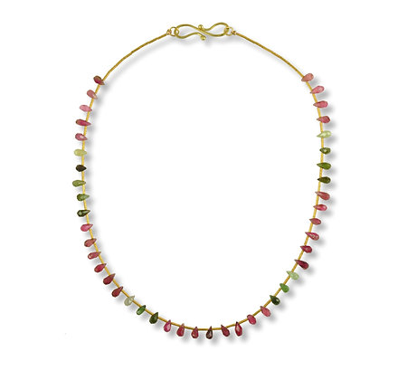 Multi-color Tourmaline and 18 Karat Gold Beads and Clasp