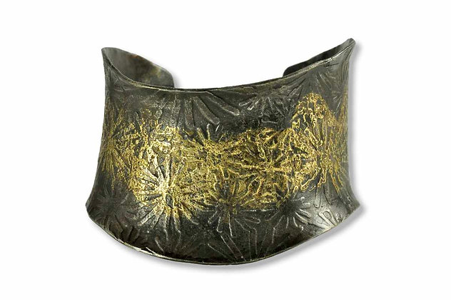 Wave 20K Gold and Steel Cuff