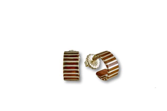 Small Mokume Striped Hoops