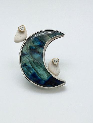 Moon Pendant w/2 Owls