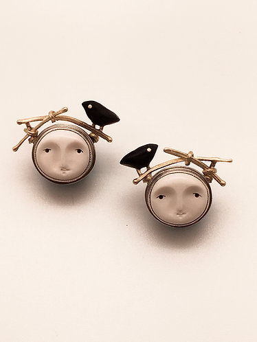 Small Face Earrings With Birds