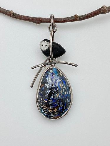 Owl Over Opal Pendant