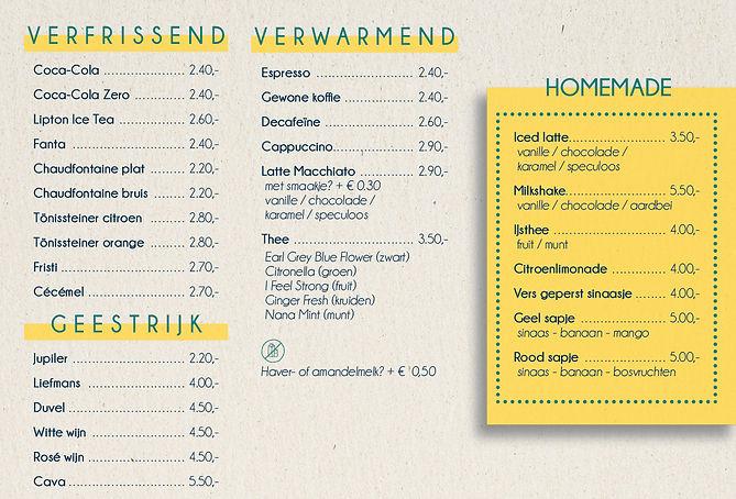 Menukaart van restaurant De Refter Hasselt