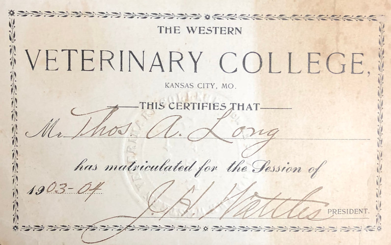 The Western Veterinary College Certificate