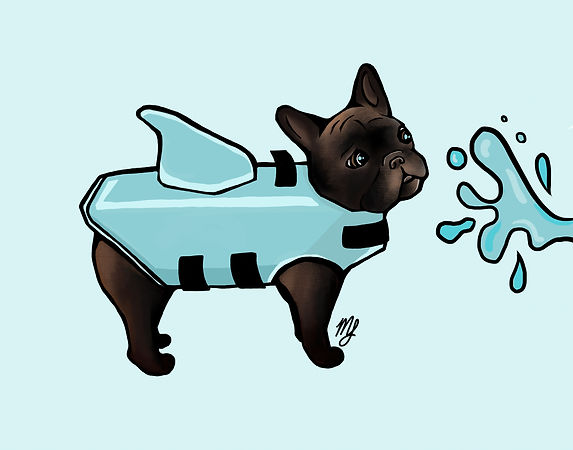 French Bulldog in a life jacket by Miranda Leighr