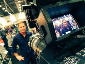 Filming at The London Bike Show in 2016.