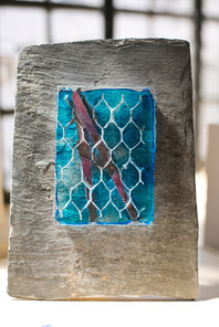Glass, slate, copper and wire abstract