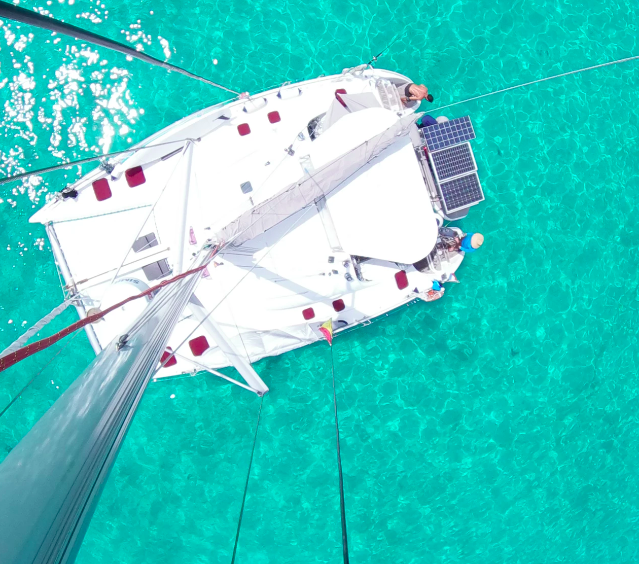 Catamaran from top of mast San Blas